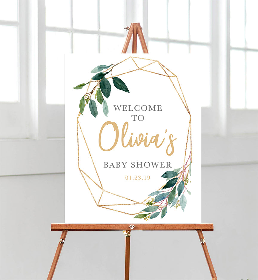 Greenery Geometric Welcome Sign