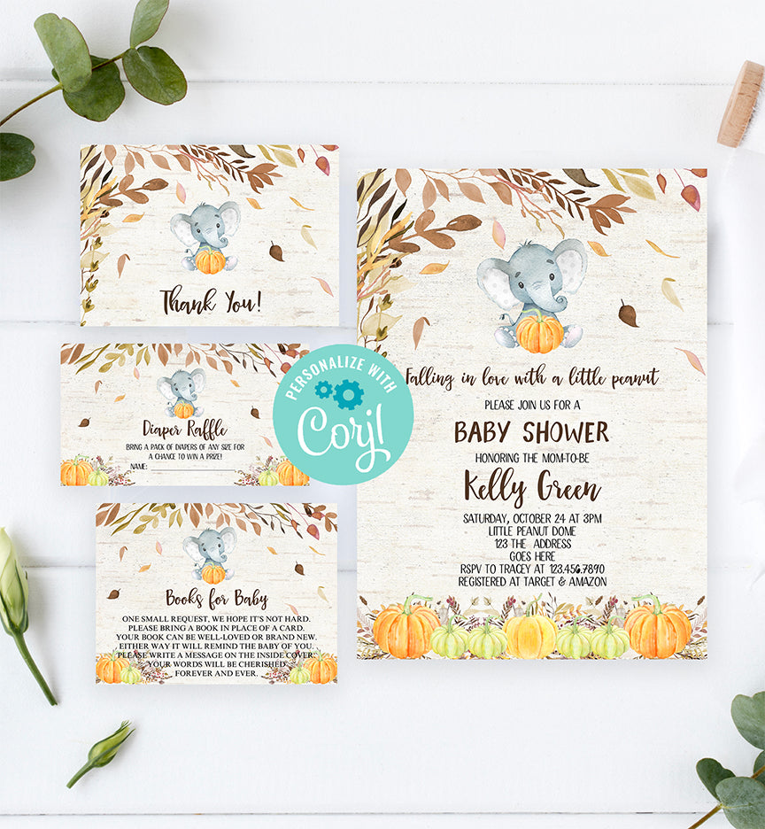 Cheers Bundle: Fall Autumn Elephant Pumpkin Baby Shower Invitation Pack