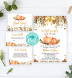 Cheers Bundle: Pumpkin Autumn Baby Shower Invitation Pack