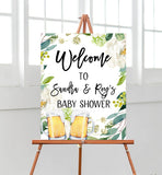 Greenery A Baby is Brewing Welcome Sign