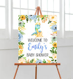 Dinosaur Boy Baby Shower Welcome Sign
