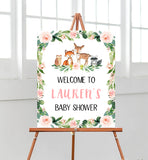 Blush Pink Floral Woodland Welcome Sign