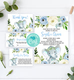 Cheers Bundle: Blue Floral Elephant Baby Shower Invitation Pack