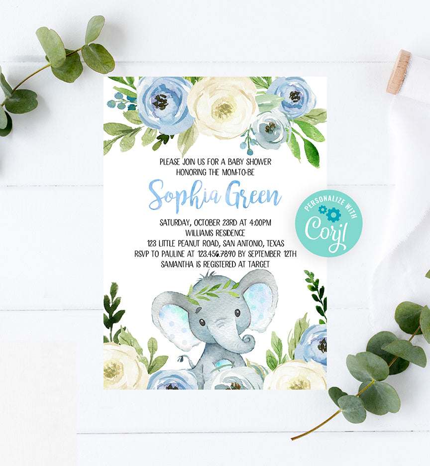 Blue Floral Elephant Baby Shower Invitation Printable