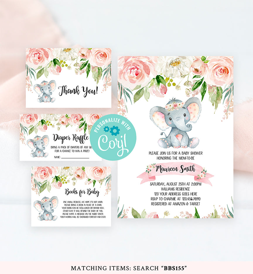 Cheers Bundle: Elephant Pink Floral Baby Shower Invitation Pack