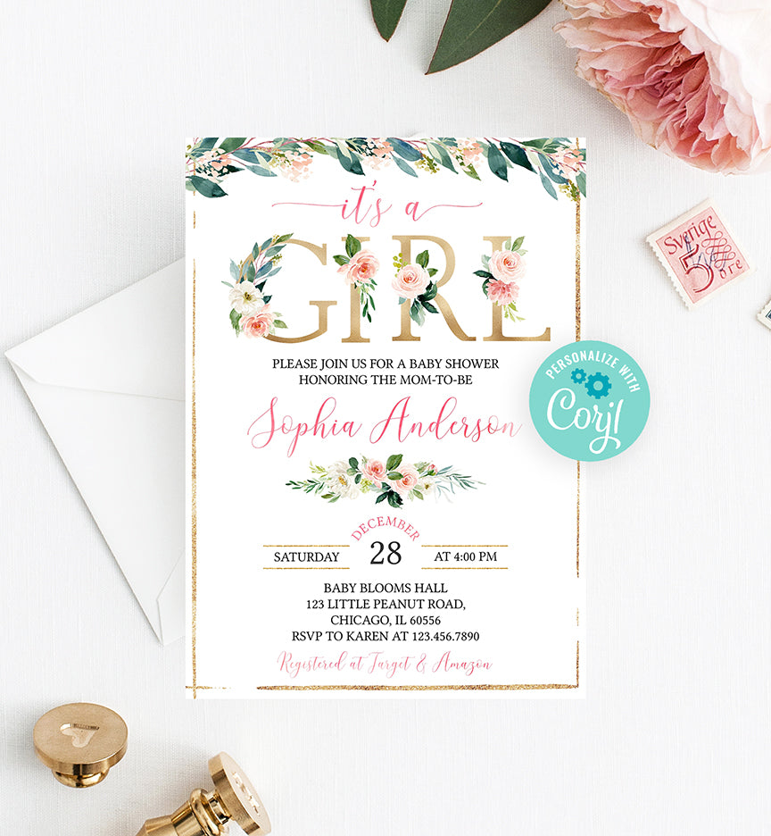 Blush Pink and Gold Floral It's a Girl Baby Shower Invitation Printable