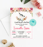 Cow Floral Boho Baby Shower Invitation Printable