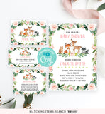 Cheers Bundle: Blush Pink Floral Woodland Baby Shower Invitation Pack