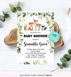 Green Foliage Woodland Baby Shower Invitation Printable