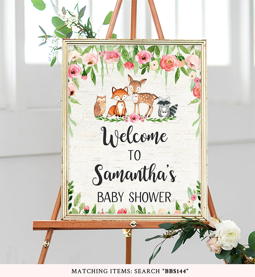 Pink Floral Woodland Welcome Sign