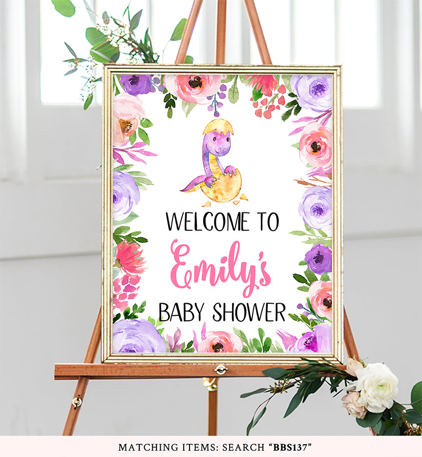 Purple and Pink Dinosaur Welcome Sign