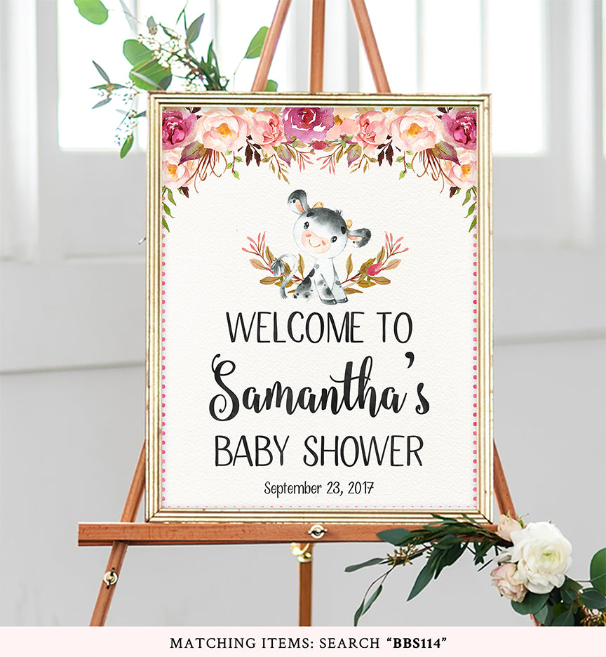Cow Floral Boho Welcome Sign