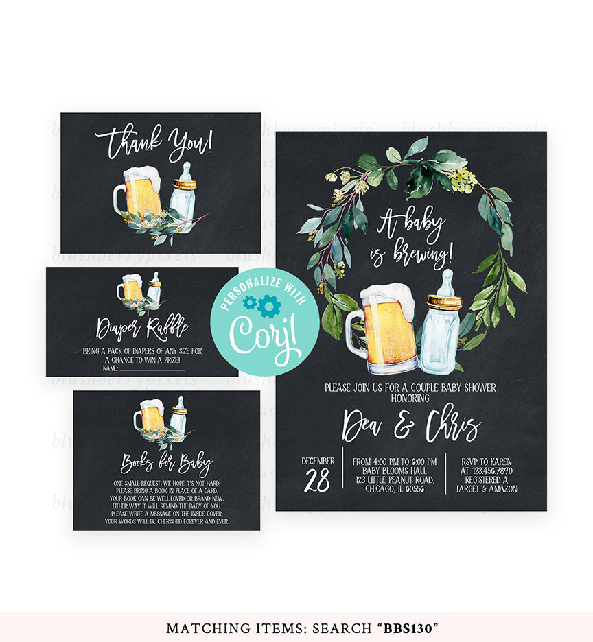 Cheers Bundle: Chalkboard Greenery A Baby is Brewing Baby Shower Invitation Pack