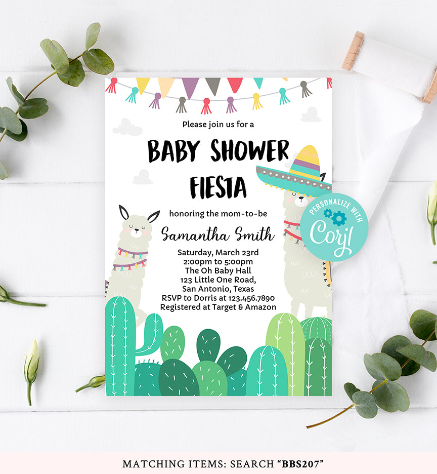 Fiesta Llama Baby Shower Invitation Printable