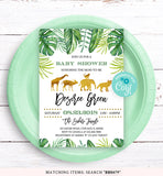 Gold Safari Animals Baby Shower Invitation Printable