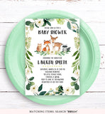 Greenery Floral Woodland Baby Shower Invitation Printable