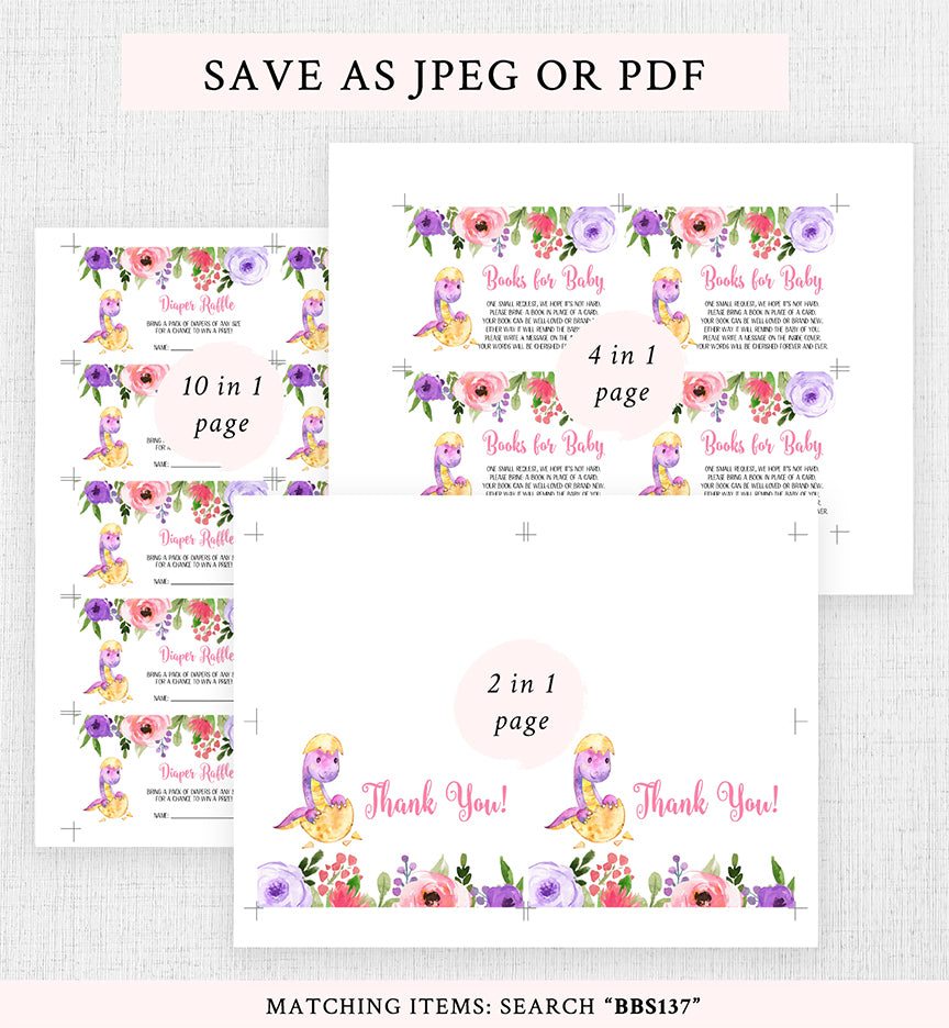 Cheers Bundle: Purple and Pink Dinosaur Baby Shower Invitation Pack