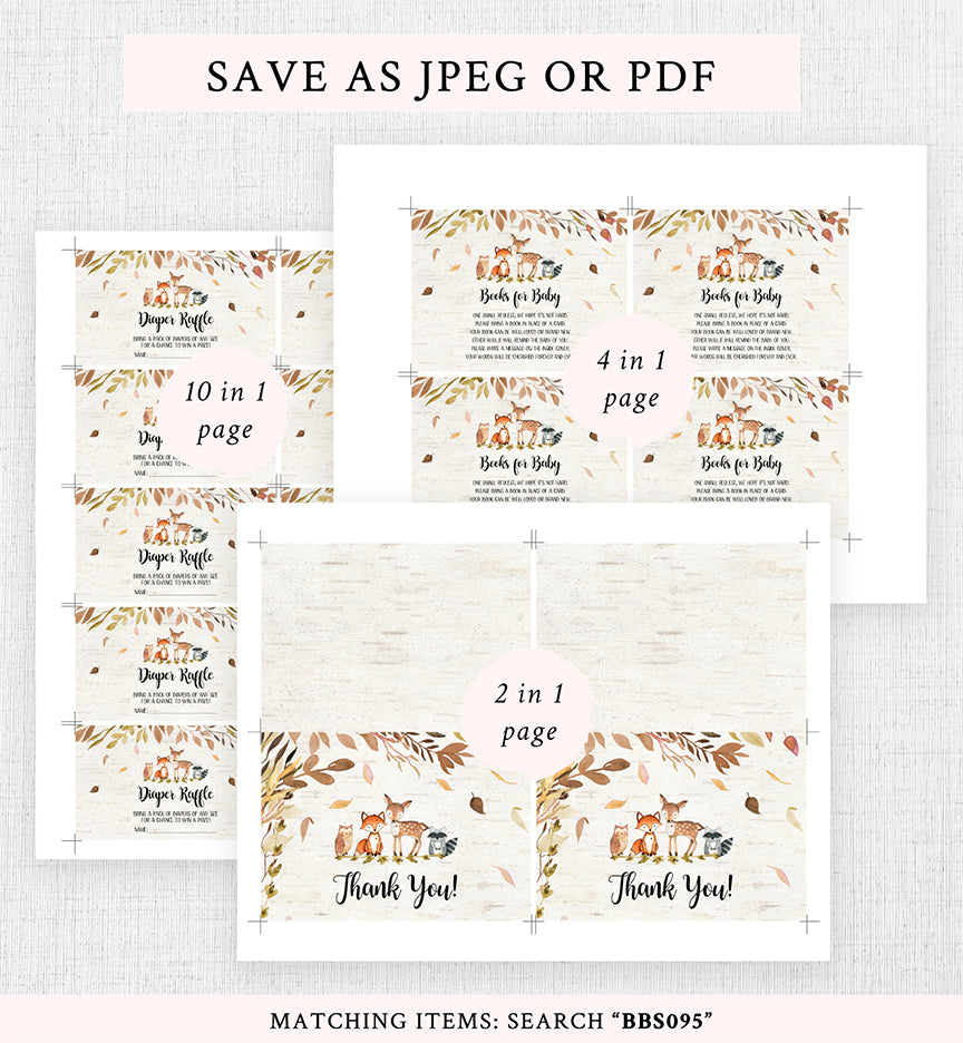 Cheers Bundle: Fall Autumn Woodland Baby Shower Invitation Pack
