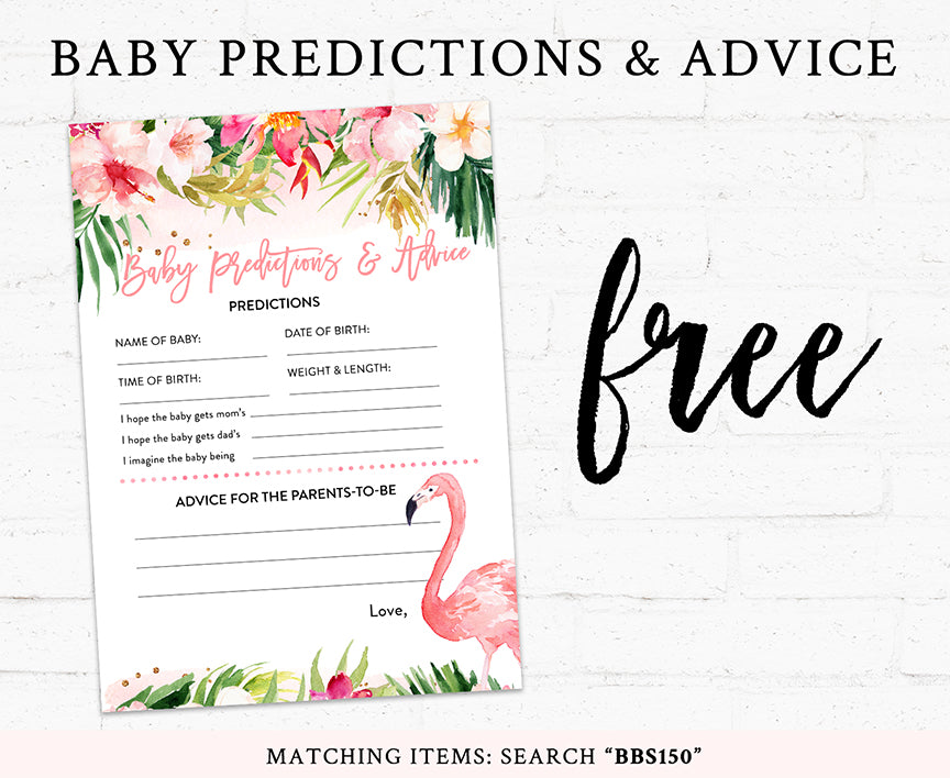 Pink Tropical Flamingo Baby Shower Game Pack