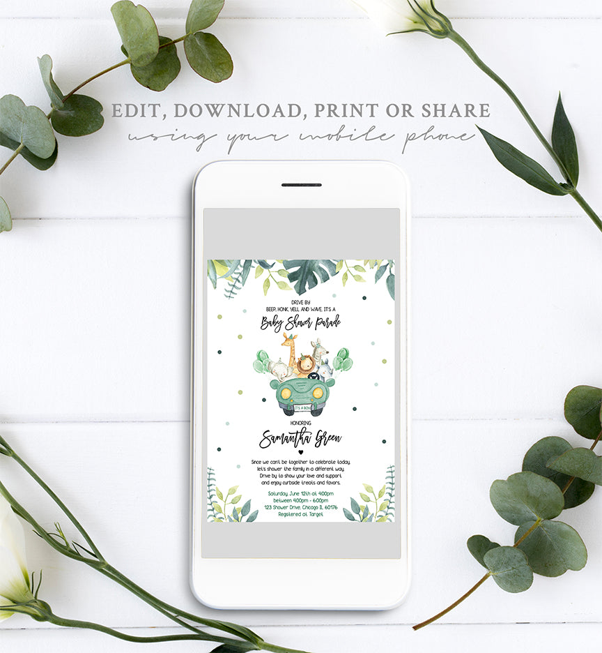 Drive By Parade Safari Baby Shower Invitation Printable