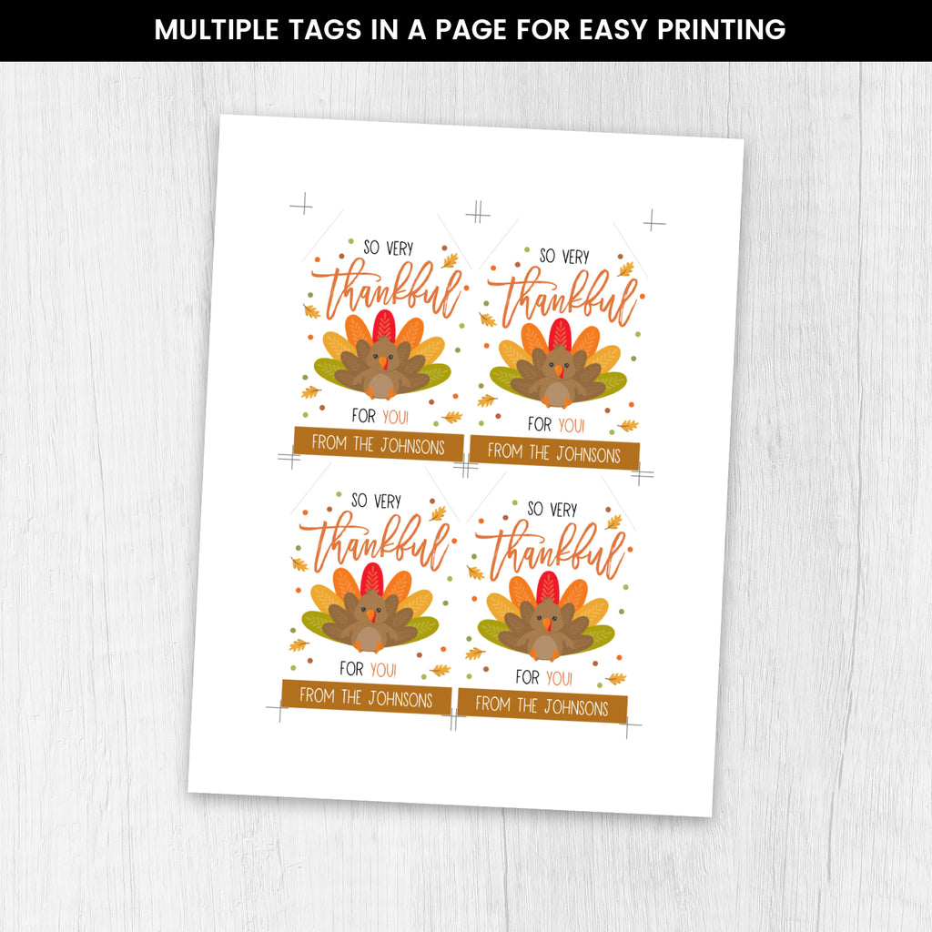 Editable Thanksgiving Gift Tags, Grateful Thankful For You, Holiday Fall Staff Teacher Volunteer Gift, Instant Download, Printable Gift Tag