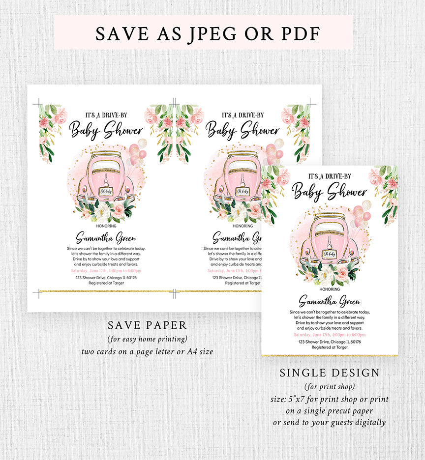 Floral Drive By Parade Baby Shower Invitation Printable