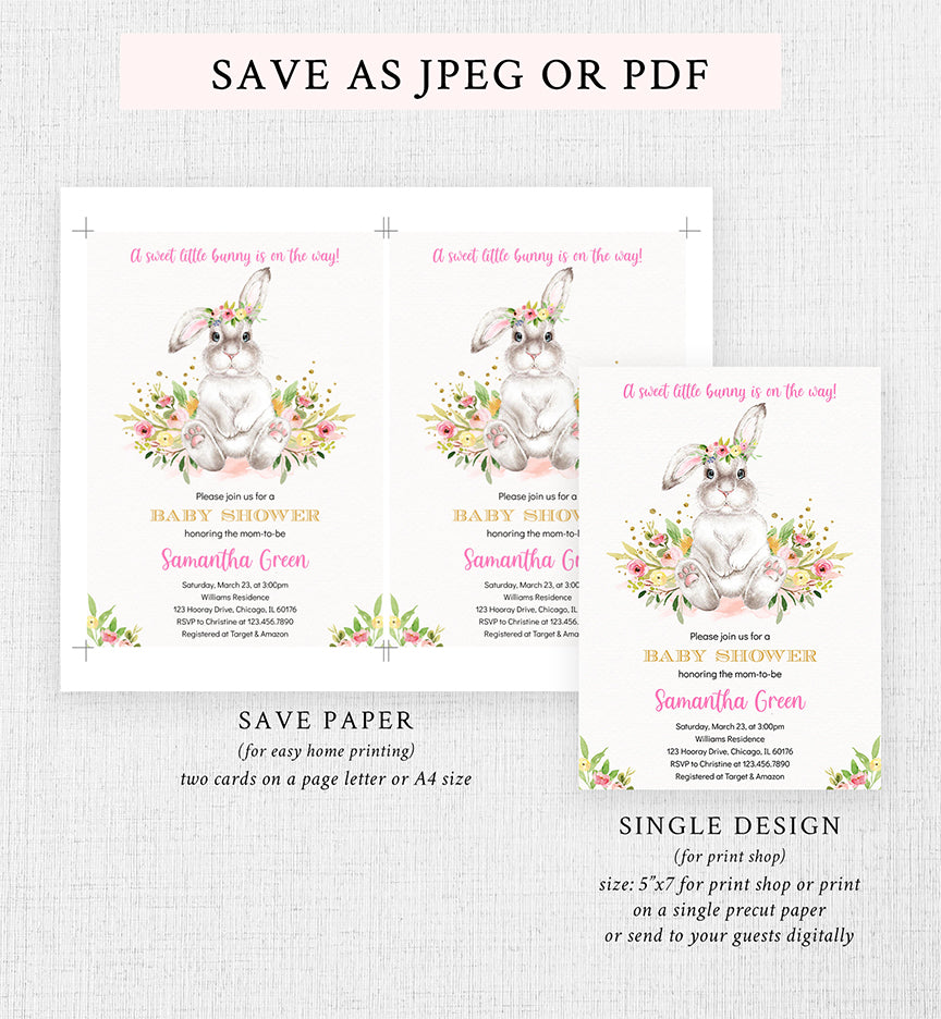 Cheers Bundle: Bunny Baby Shower Invitation Pack