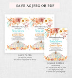 Fall Pumpkin Blue and Orange Floral Baby Shower Invitation Printable
