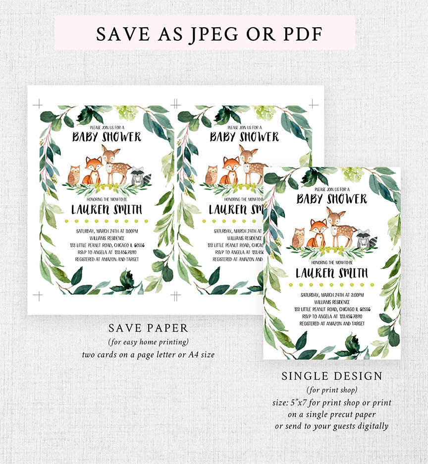 Cheers Bundle: Greenery Woodland Forest Baby Shower Invitation Pack