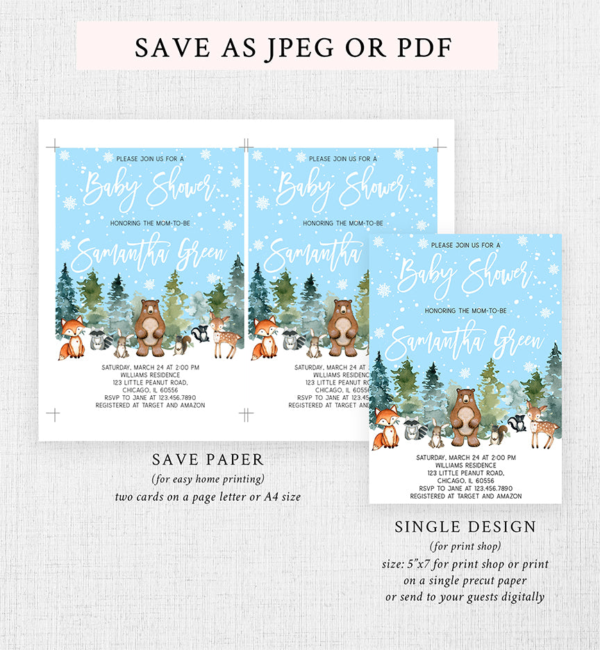 Winter Woodland Baby Shower Invitation Printable