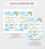 Moon and Stars Baby Shower Invitation Printable