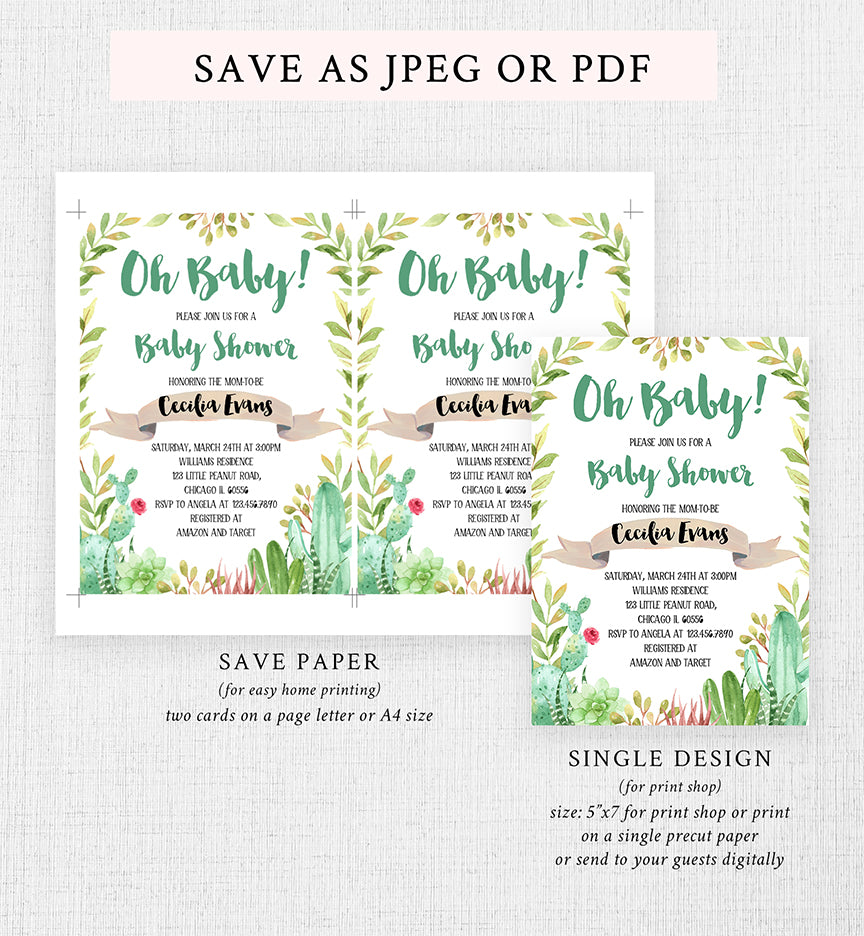 Cheers Bundle: Cactus Baby Shower Invitation Pack