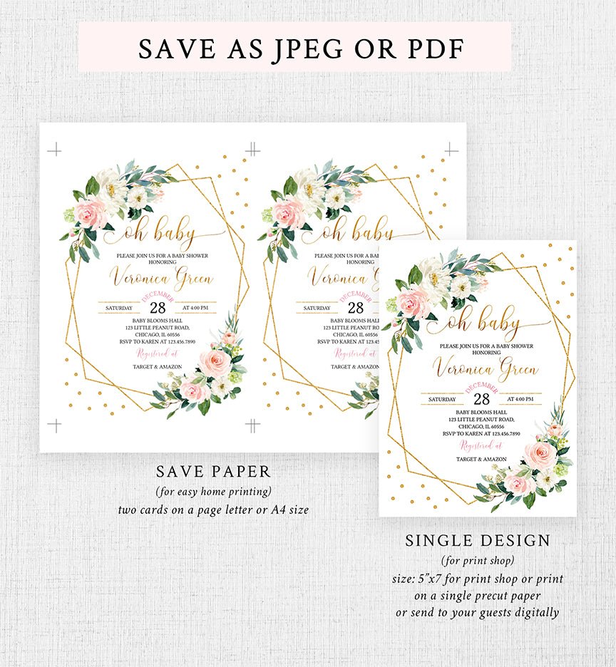 Blush Pink and Gold Floral Geometric Baby Shower Invitation Printable