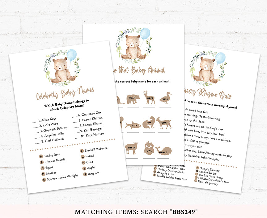 Teddy Bear Baby Shower Game Pack