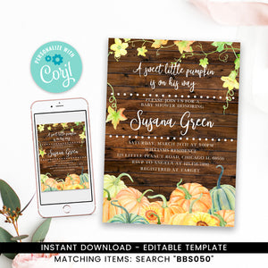 Rustic Pumpkin Fall Baby Shower Invitation Printable