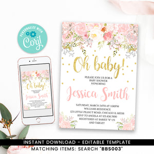Blush Pink Floral Baby Shower Invitation Printable