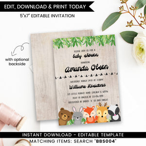 Woodland Baby Shower Invitation Printable