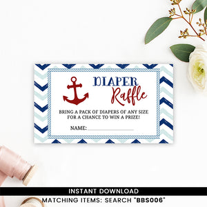 Blue And Red Nautical Diaper Raffle