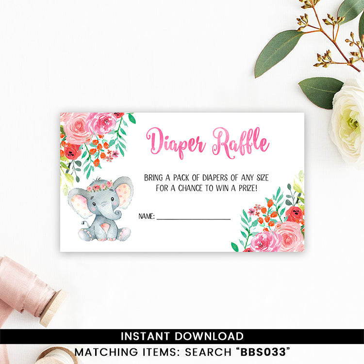 Colorful Floral Elephant Diaper Raffle