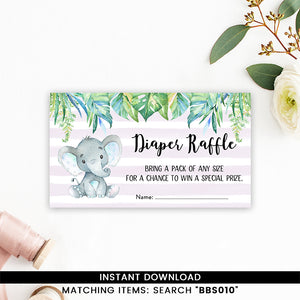 Blue Elephant Safari Diaper Raffle