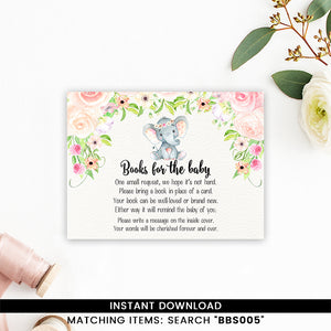 Blush Pink Floral Elephant Books for Baby