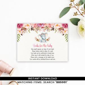 Elephant Baby Shower Books for Baby Floral Boho