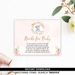 Pink Ink Floral Elephant Books for Baby