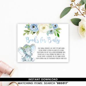 Blue Floral Elephant Books for Baby