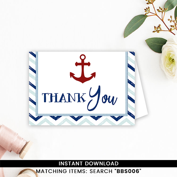 Blue and Red Nautical Thank you Card