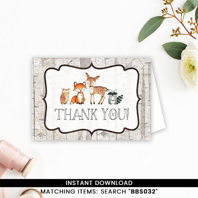 In the Woods Woodland Thank you Card