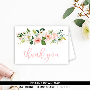 Blush Pink Floral Thank you Card