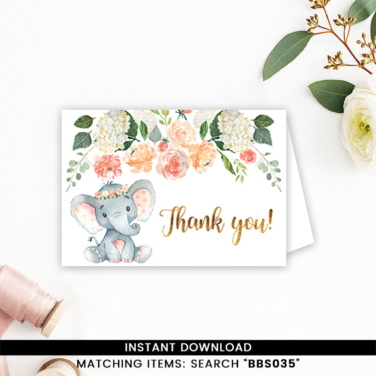 Peaches And Cream Elephant Thank You Card