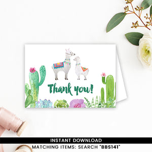 Fiesta Llama Thank you Card