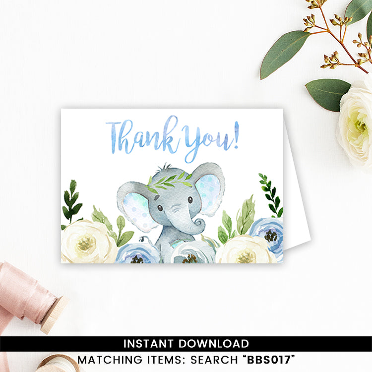 Blue Floral Elephant Thank You Card